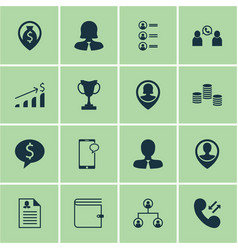 Set of 16 hr icons includes phone conference vector