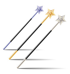 Set of magic wands with stars vector