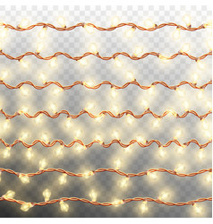 set of seven seamless garlands border eps 10 vector image