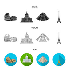 Sights of different countries blackflatoutline vector