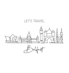 single continuous line drawing belfast city vector image