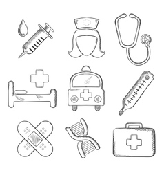 Sketched medical and healthcare icons vector