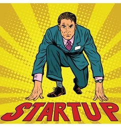 Startup retro businessman on starting line vector
