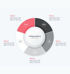 stylish pie chart circle infographic template 5 vector image