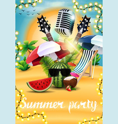 summer party poster with watermelon in sunglasses vector image