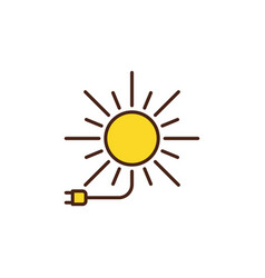 sun with plug colored icon solar energy vector image