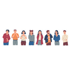 surprised people excited and wondered characters vector image