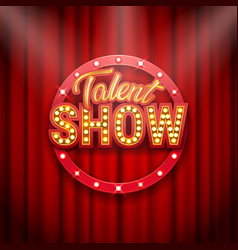 Talent show banner poster gold inscription on vector