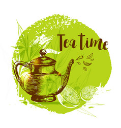 Teapot and lemon on a green background vector