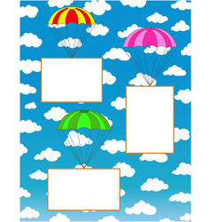 three parachutes with white paper sheets for text vector image
