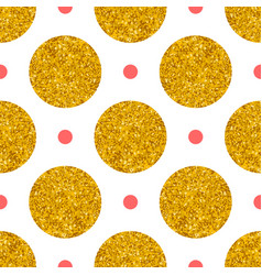 tile pattern with big golden and small pink polka vector image