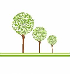 trees on white background vector image