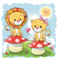 Two cute cartoon lions on mushrooms vector
