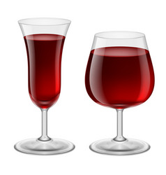 two glasses of red wine for design vector image