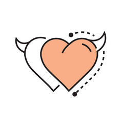 two line icon style heart devil design vector image