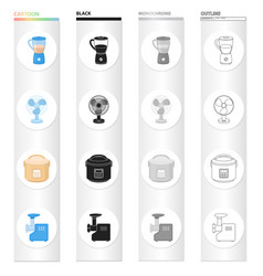 Types of household appliances cartoon black vector