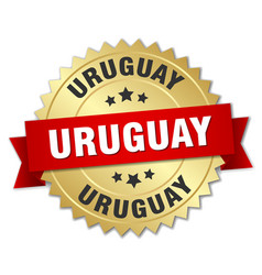 Uruguay round golden badge with red ribbon vector