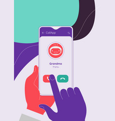 Video and voice call messenger mobile app concept vector
