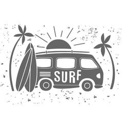 Vintage of mini van with lettering vector