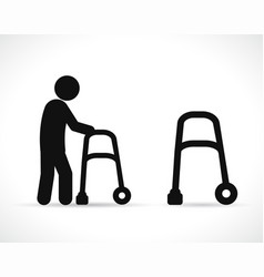 walker disabled black icons vector image