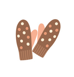 Warm mittens flat knitted vector