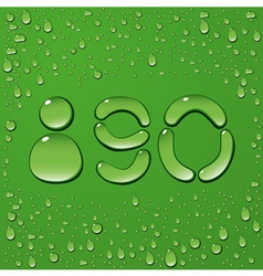 Water drop letters on green background 12 vector image