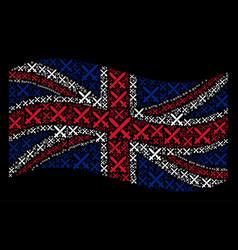 Waving united kingdom flag pattern of crossing vector