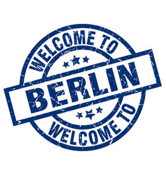 Welcome to berlin blue stamp vector