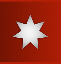 White seven-pointed star on red background jordan vector
