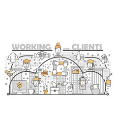 working with clients concept flat line art vector image
