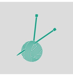 Yarn ball with knitting needles icon vector image