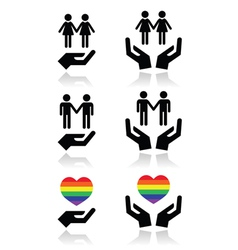 Gay and lesbian couples rainbow flag with hands vector image