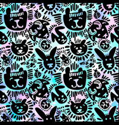 pets stylish seamless textile ink brush strokes vector image