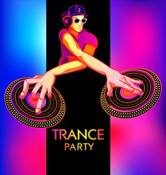 Trance party dj vector image vector image
