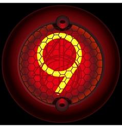 Digit 9 nine Nixie tube indicator vector image vector image