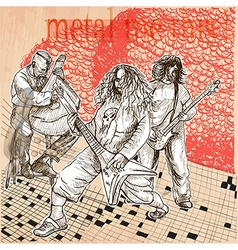 Metal music group An hand drawn picture Line art vector image vector image
