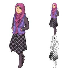 Muslim Woman Fashion Wearing Purple Veil or Scarf vector image