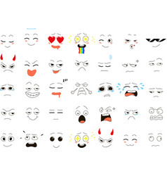set of funny smiles web icons vector image