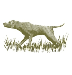 Woodcut bird dog vector