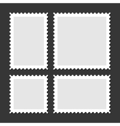 Blank Postage Stamps Set on Dark Background vector image vector image