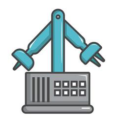 robotic arm icon cartoon style vector image
