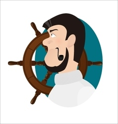 Ship captain with tobacco pipe sea-dog vector image