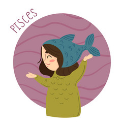 cute zodiac sign - pisces vector image
