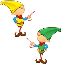 Elf Mascot Pointing With Candy vector image vector image