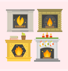 flat style fireplace icon design house room warm vector image