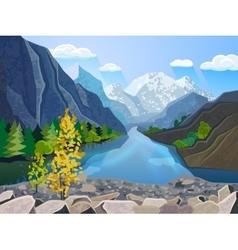 Landscape summer mountains range print vector image