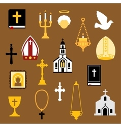 Religious christian and catholic flat icons vector image vector image