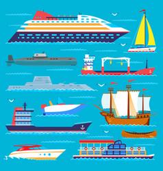 ship cruiser boat sea transport symbol vessel vector image vector image