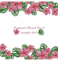 Tropical pink flowers pattern vector image