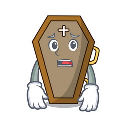 afraid coffin mascot cartoon style vector image
